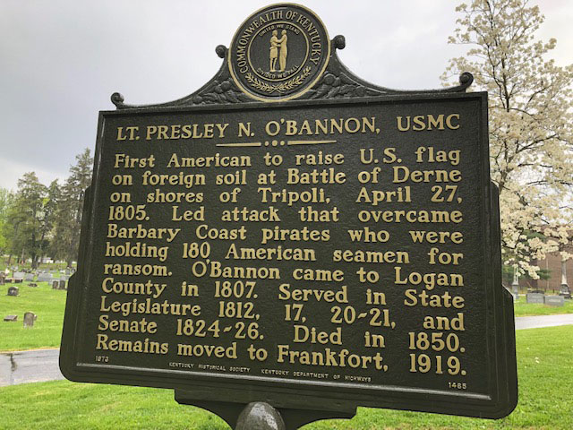 PRESLEY O'BANNON STATE HISTORICAL MARKER REFURBISHED AND RE-DEDICATED BY KENTUCKY MARINES